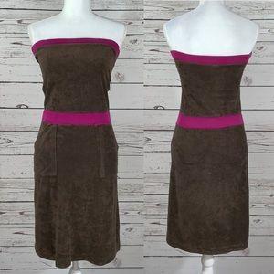 American Apparel brown and fuchsia dress